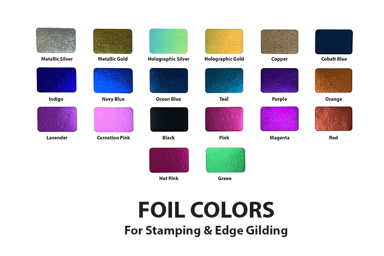 Foil Colors for Stamping and Edge Gilding